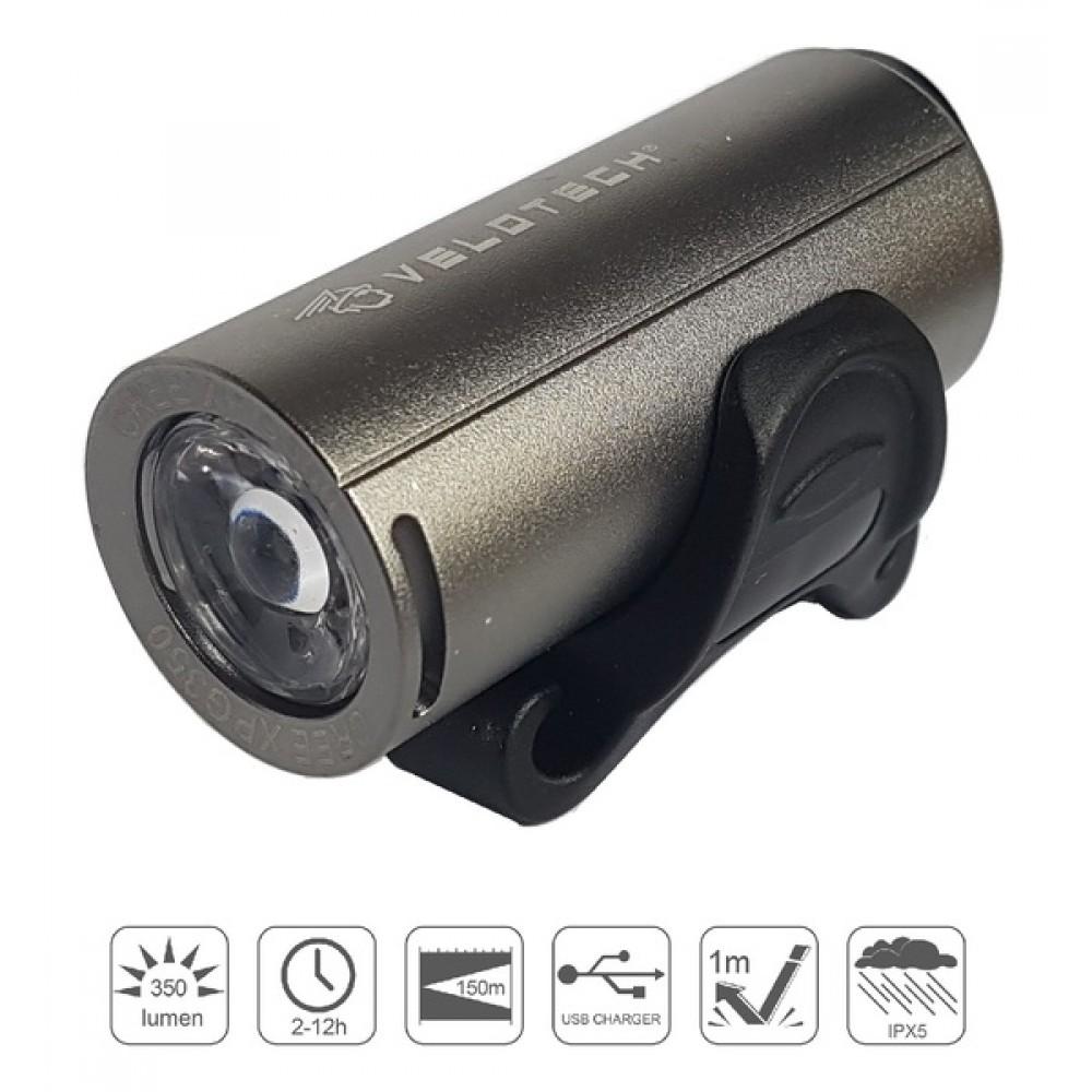 Lámpa első Velotech Pro 350